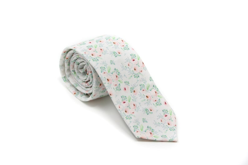 White Blush Floral Bow Tie or Skinny Necktie  PERFECT for image 0