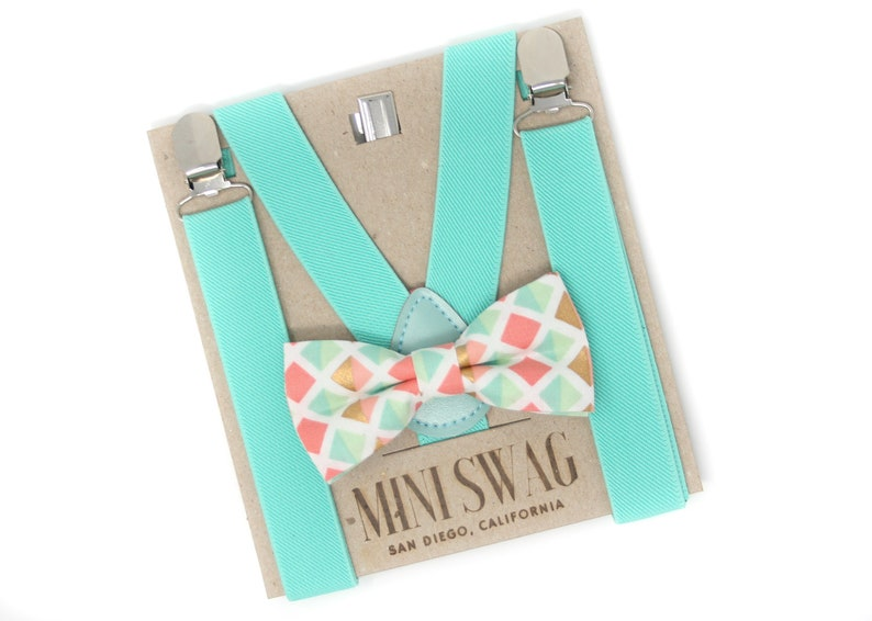 Coral Aqua Gold Bow Tie and Aqua Suspenders  Perfect for image 0