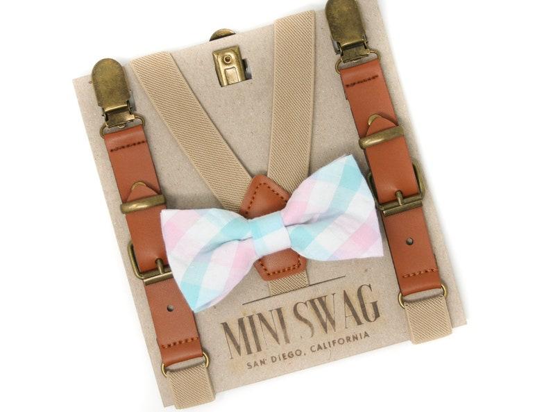 Aqua and Blush Plaid Bow Tie & Khaki Leather Suspenders  image 0