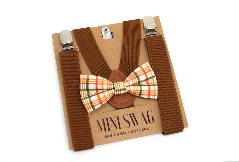 Fall Plaid Bow Tie & Coffee Brown Suspenders  PERFECT for image 0