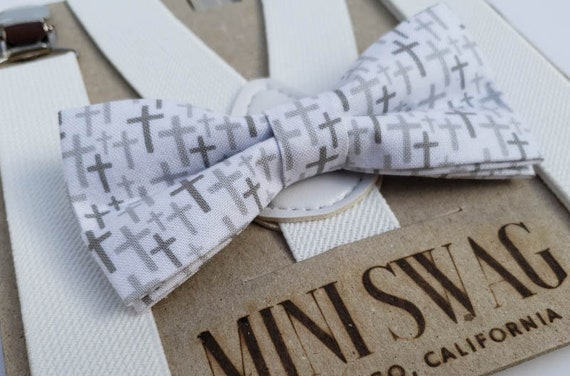 Weiß Grau Kreuz Fliege Und Weiße Hosenträger Set Für Jungen Taufe Taufe Kommunion Ostern Weihnachten Kirche Outfit Christian Geschenk