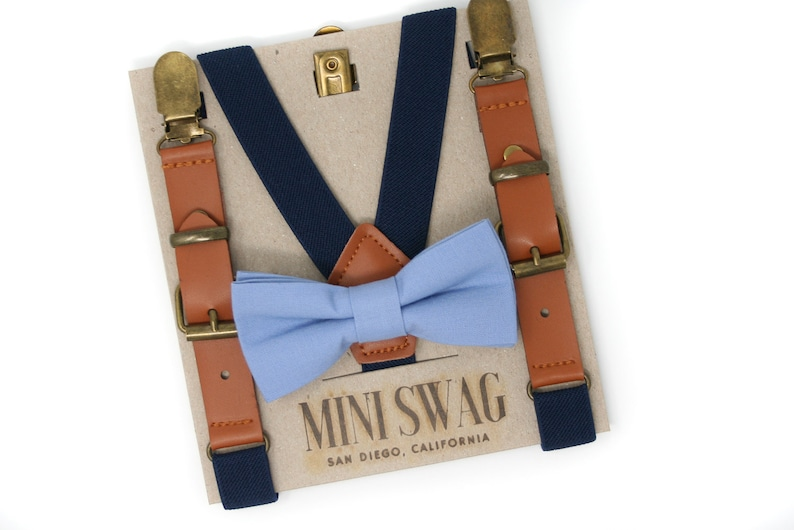 Steel Blue Bow Tie and Leather Suspenders  Perfect for a image 0