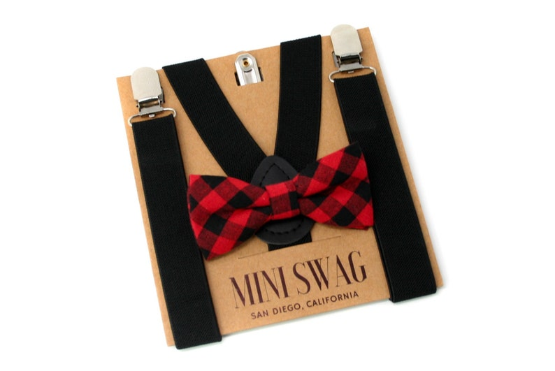 Buffalo Plaid Bow Tie Boys Valentine's Outfit Toddler image 0