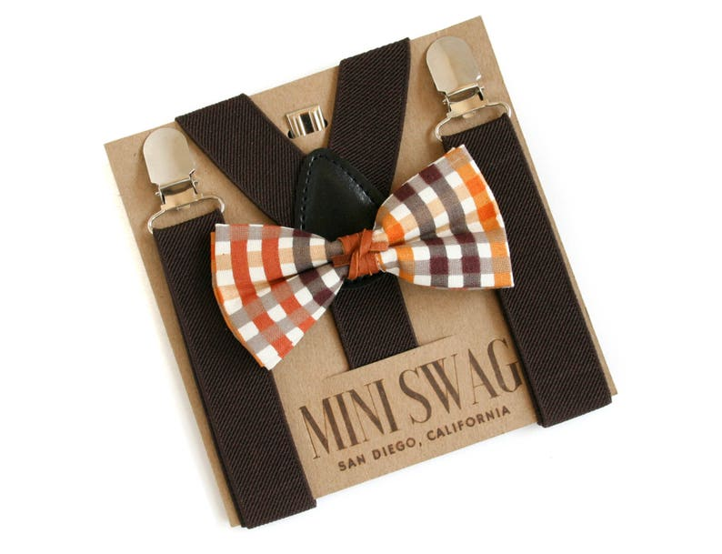 Boys Fall Plaid Bow Tie & Brown Suspenders SetsPERFECT for image 0
