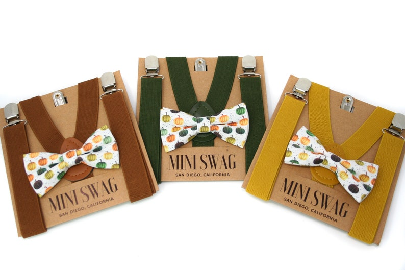 Boys Fall Pumpkin Bow Tie & Suspenders Sets  PERFECT for image 0