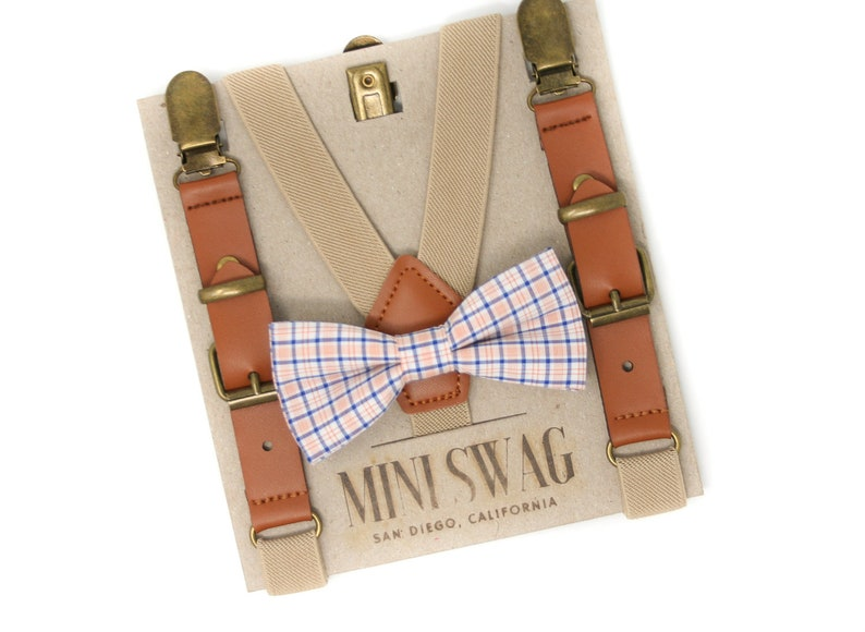 Navy and Orange Plaid Bow Tie and Khaki Leather Suspenders  image 0