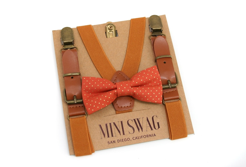 Terracotta Gold Dot Bow Tie & Camel Leather Suspenders Sets image 0