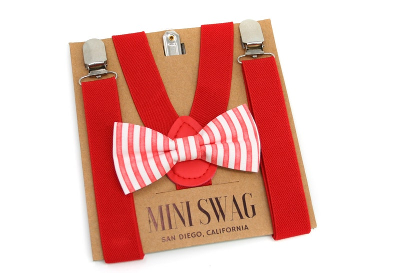 Red and White Stripe Bow Tie & Red Suspenders  Perfect for image 0