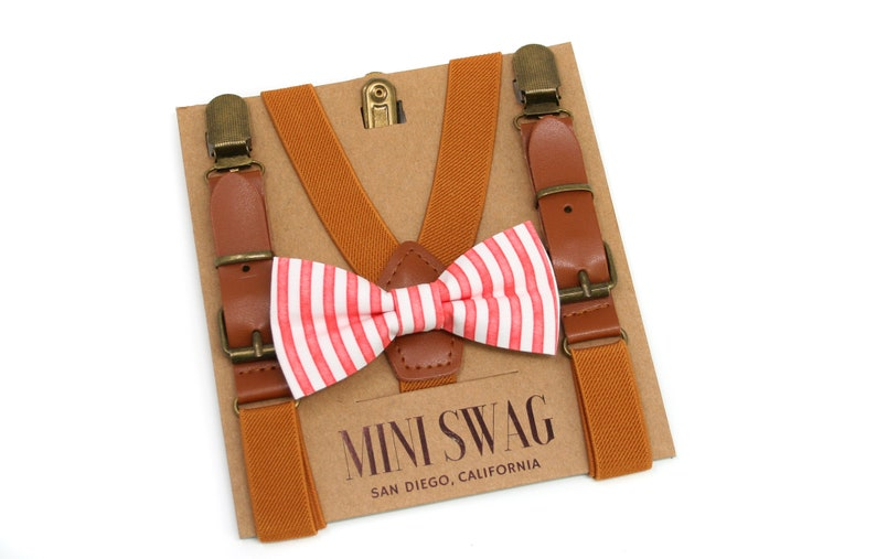 Red and White Stripe Bow Tie & Leather Suspenders  Perfect image 0