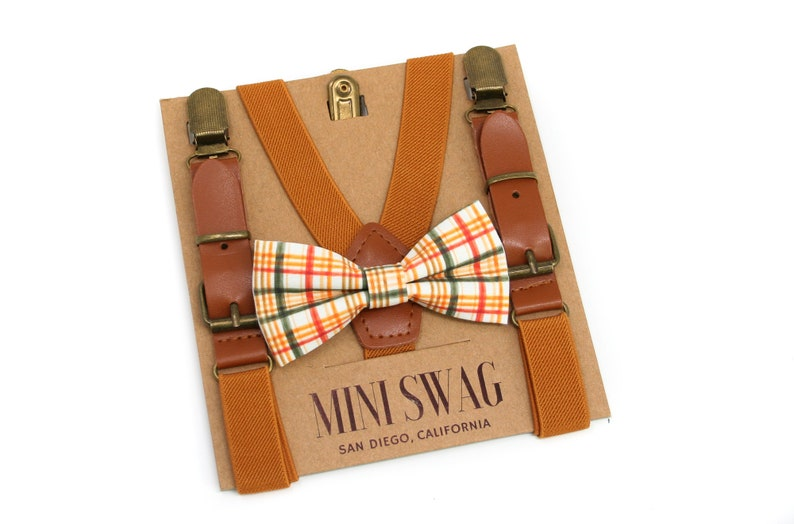 Fall Plaid Bow Tie & Camel Leather Suspenders Sets  PERFECT image 0