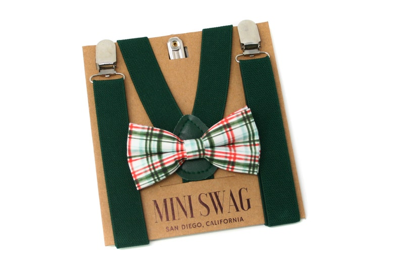 Red and Green Plaid Bow Tie & Hunter Suspenders  Perfect image 0