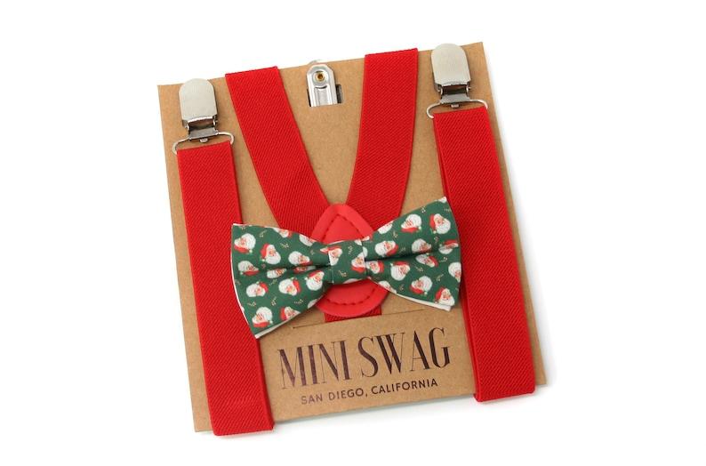 Vintage Santa Christmas Bow Tie and Red SuspendersPERFECT image 0