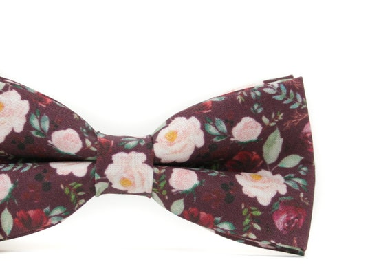 Groomsmen PERFECT for Ring Bearer Outfit Wine Blush Marsala Burgundy Floral Bow Tie or Necktie Wedding Gift Page Boy