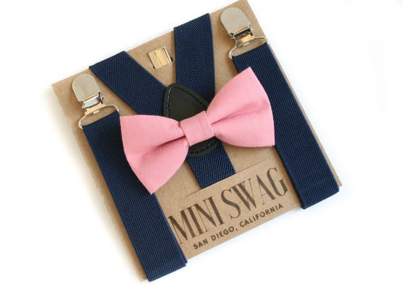 Dusty Rose Baby Bowtie Outfit Navy Wedding Suspenders Kids Etsy