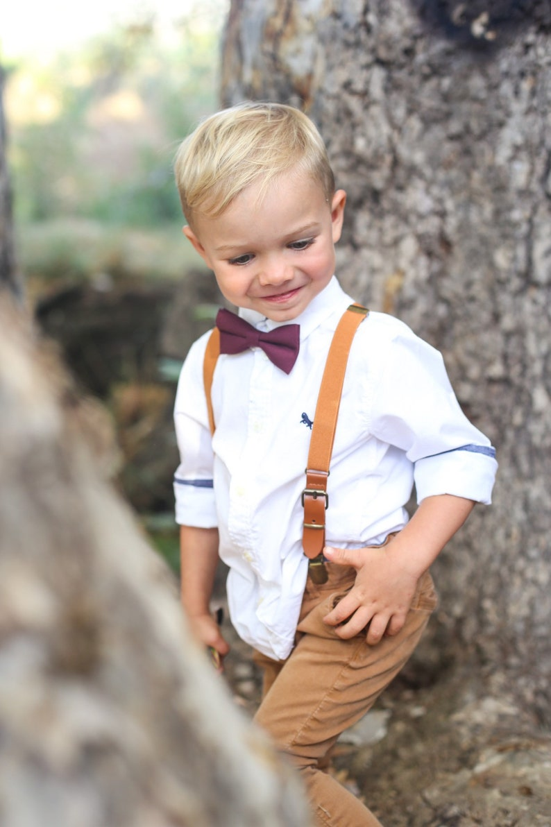 Marsala Bow Tie & Camel Leather SuspendersPERFECT for Boys image 0