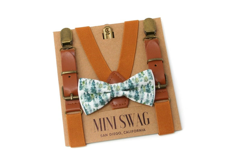 Forest Bow Tie & Leather SuspendersPerfect for Woodland image 0