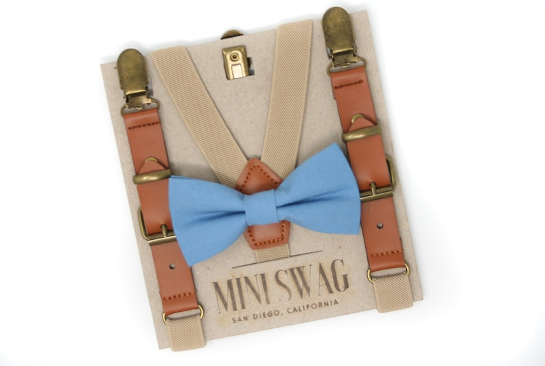 Slate Blue Bow Tie and Leather Suspenders  Perfect for a image 0