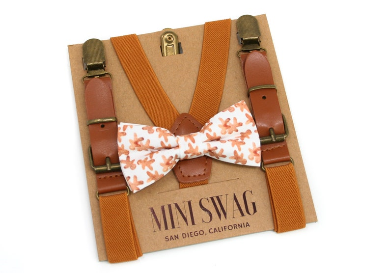 Gingerbread Bow Tie & Leather Suspenders  Perfect for image 0