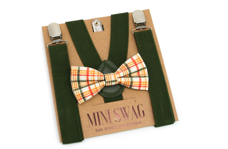 Fall Plaid Bow Tie & Moss Green Suspenders  PERFECT for image 0