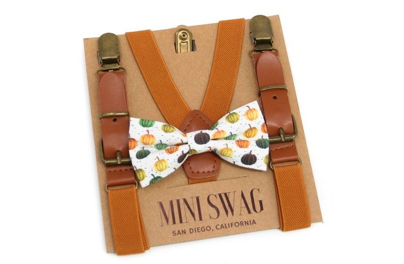 Fall Pumpkin Bow Tie & Camel Leather Suspenders Sets  image 0