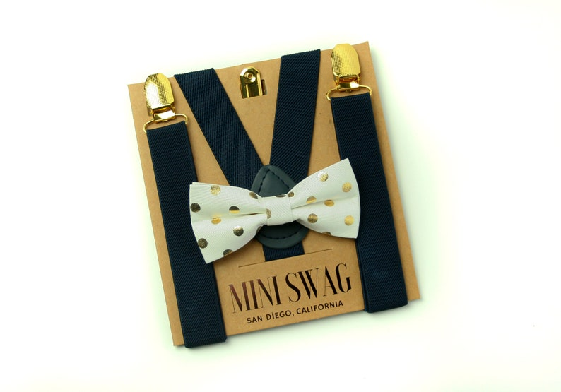 White & Gold Dot Bow Tie  Navy Suspenders with Gold Clips  image 0