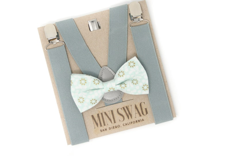 Mint Green Floral Bow Tie & Gray SuspendersPERFECT for a image 0