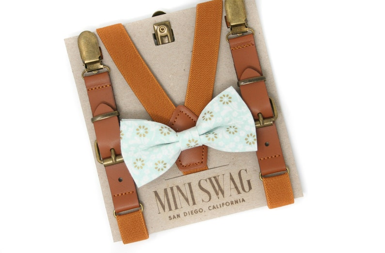 Mint Floral Bow Tie & Camel Leather SuspendersPERFECT for image 0