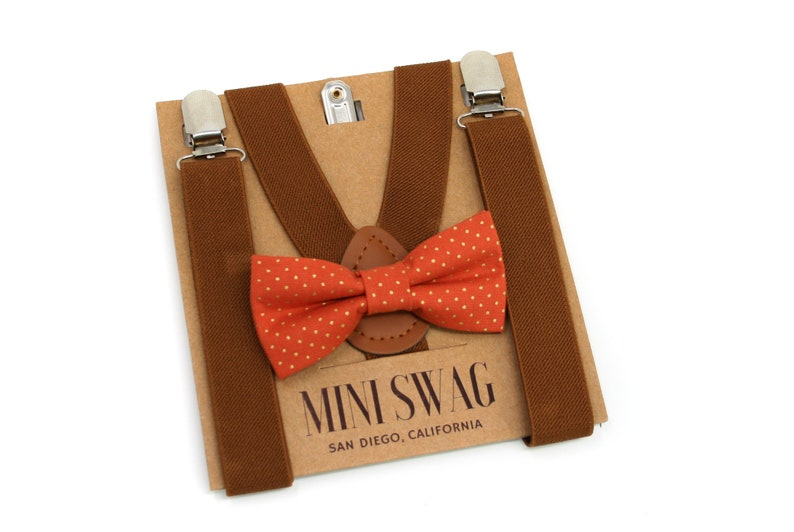 Burnt Orange Dot Bow Tie & Coffee Brown Suspenders  PERFECT image 0