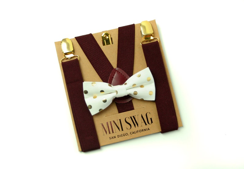 Gold & White Dot Bow Tie  Dark Burgundy Suspenders with Gold image 0
