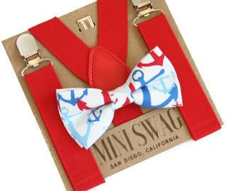 Under the Sea Party Outfit, Anchor Bow Tie, Nautical Party, Baby Bow Tie, Toddler Bow Tie Set, Newborn Boy Bow Tie, Red Baby Suspenders