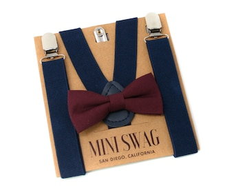 Dark Burgundy (Wine) Bow Tie and Navy Suspenders -- PERFECT for Ring Bearer, Groomsmen, Wedding Outfits, Page Boy, Baby Birthday, Cake Smash