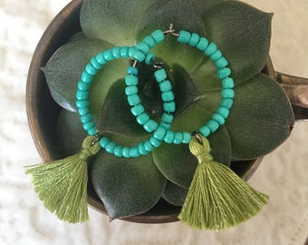 Turquoise glass beads and green tassel earrings