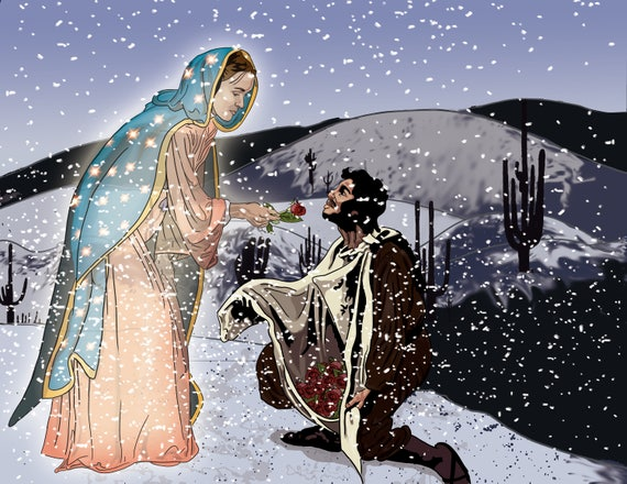 Our Lady of Guadalupe and St. Juan Diego 16 x 20 Wrapped Canvas Print