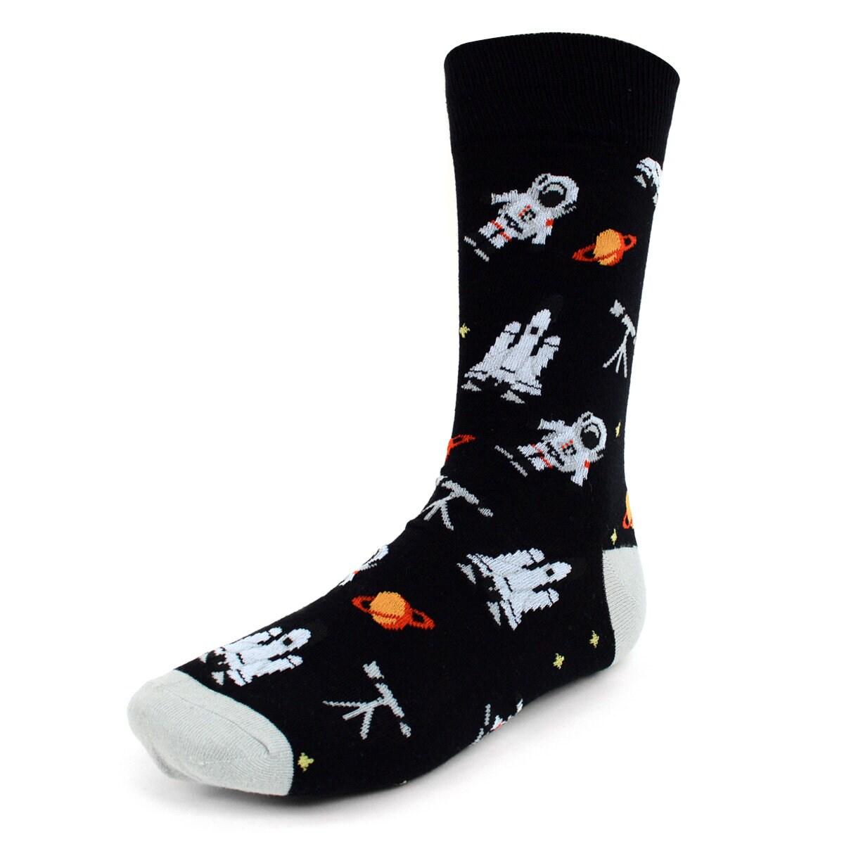 Noir astronaute chaussettes pour hommes | | hommes Robe chaussette | Coton de première qualité 046204