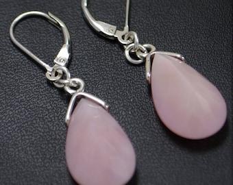 Natural Pink Opal Drop Earrings (Sterling Silver) - Leverbacks