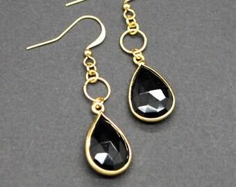 Black Onyx Drop Earrings (Gold Plated)