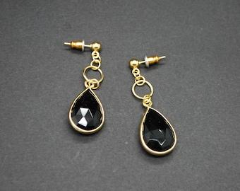 Black Onyx Bezel Drop Earrings - Gold Plated