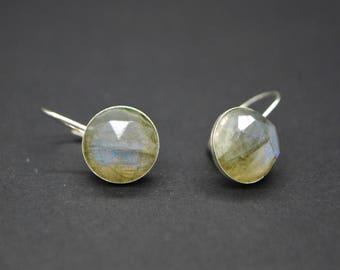 Faceted Labradorite Drop Earrings - Sterling Silver Leverbacks