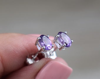 6 x 4 mm Oval Amethyst Pendant - Mini Genuine African Amethyst Choice of Chain Sterling Silver