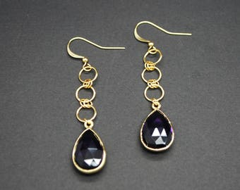 Black Onyx Bezel Drop Earrings (Gold Plated)
