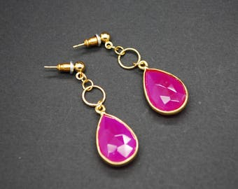 Pink (Fuscia) Chalcedony Dangle Earrings - Gold Plated
