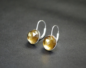 Whiskey Quartz Drop Earrings - Sterling Silver Leverbacks