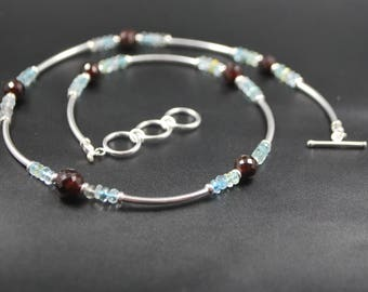 Garnet and Aquamarine Necklace - Sterling Silver - Natural Semi Precious Stones - Beaded Necklace
