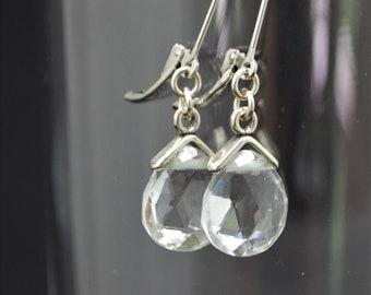 Crystal Quartz Gemstone drop Earrings - AAA Quality Gemstone - Clear Quartz - Sterling Silver Leverback - Pear Shape Briolette Earrings