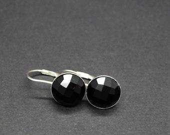 Black Onyx Drop Earrings - Sterling Silver Leverbacks