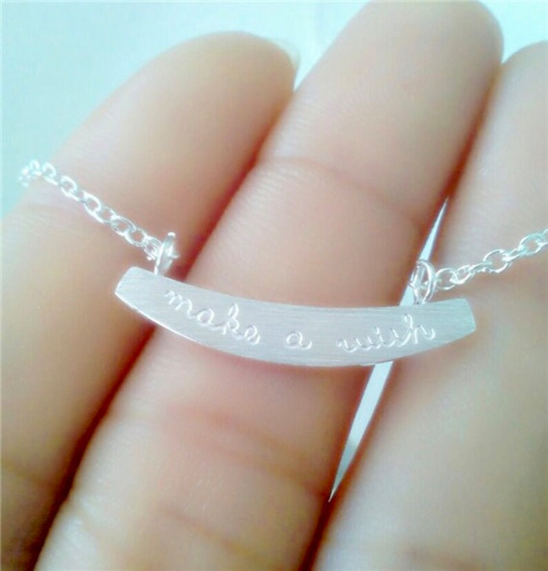 Make A Wish Curved Bar Necklace