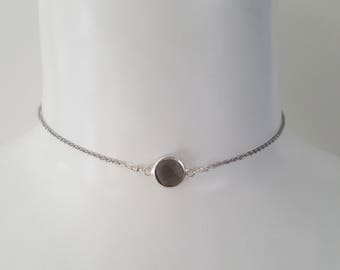 Handmade Stainless Steel Choker Necklace w/ Smokey Quartz Crystal