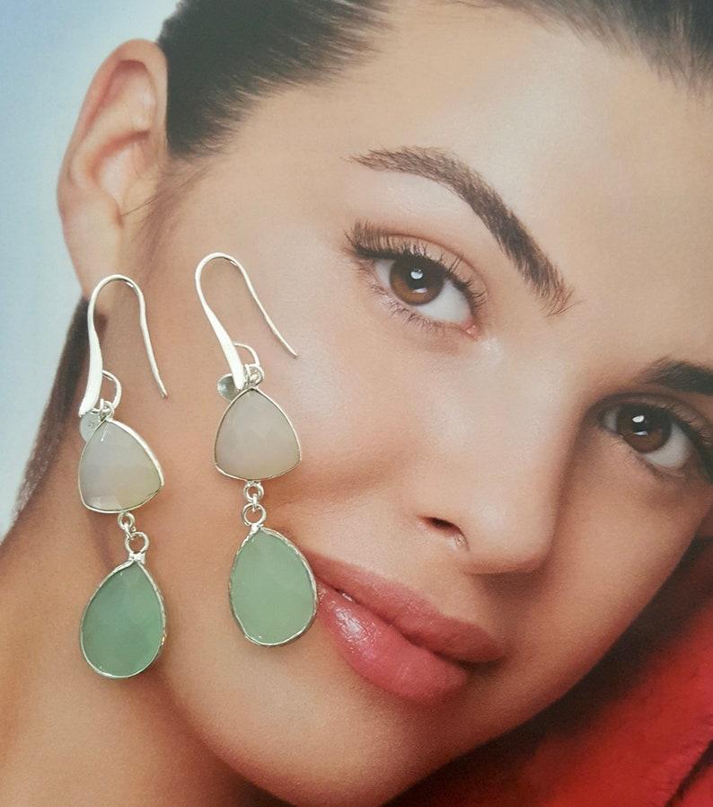 Aqua Chalcedony And Moonstone Drop Earrings