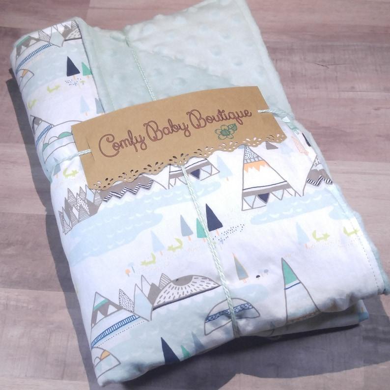 Baby Boy Blanket Tribal Baby Blanket Minky Security baby blanket Baby Shower Gift Teepee Lovey Baby Boy Blanket Minky Blanket