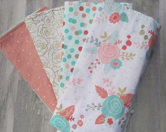 Baby Girl Burp Cloth Set / Baby Burp Cloth / Baby Girl Gift / Burp Cloth Sets/ Burp Cloths / Mint and Coral / Baby girl